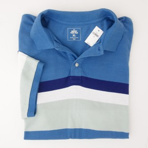 NEW Gap Modern Pique Chest Stripe Polo Shirt in Blue White Stripe
