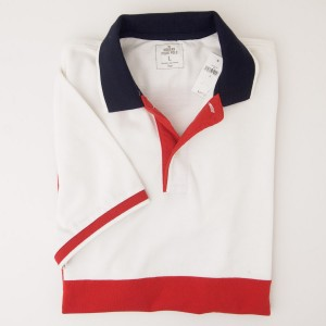 NEW Gap Modern Pieced Pique Polo Shirt in Red Combo