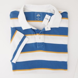 NEW Gap Modern Tri-Striped Pique Polo Shirt in Blue Stripe