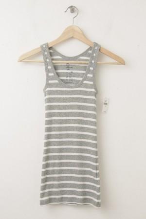 NEW Gap Women's Essential Striped Rib Tank in Grey Stripe