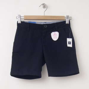 "NEW GapKids Girl's GapShield Uniform Flat Front Shorts (6"") in Deep True Navy"