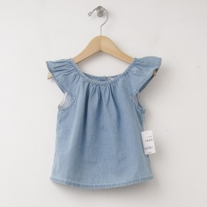 New babyGap Denim Flutter Top Shirt in Chambray