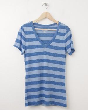 NEW Old Navy Women's April Vintage V-Neck Tee T-Shirt in Blue Stripe