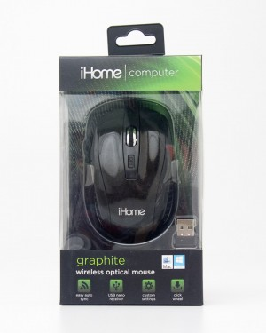 iHome Computer Graphite Wireless Optical Mouse Black Glossy IH-M361B