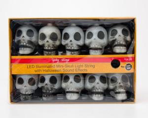 Spooky Village LED Illuminated Mini-Skull Light String with Halloween Sound Effects