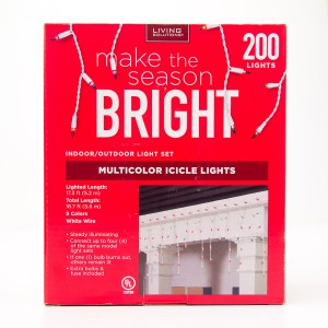 Living Solutions Multicolor Icicle Lights 200 Lights