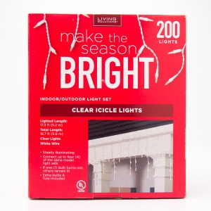 Living Solutions Clear Icicle Lights 200 Lights