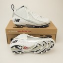 New Balance 897 Mid Cut Football Cleats MF897MW in White with Silver