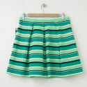 NEW Gap Pleated Striped Fit and Flare Skirt in Blue Green Stripe (back)