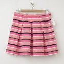 NEW Gap Pleated Striped Fit and Flare Skirt in Pink Stripe