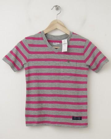 NEW GapKids Striped Pocket V-Neck Tee T-Shirt in Royal Fuchsia