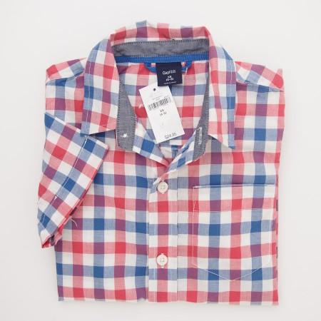 NEW GapKids Boy's Short Sleeve Gala Gingham Shirt in Blue Red Plaid