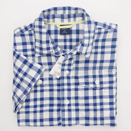 NEW GapKids Boys Short Sleeve Woven Plaid Shirt in Blue Plaid