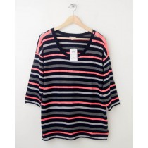 NEW Gap Neon Striped Button-Shoulder Sweater in Navy Uniform Women's L