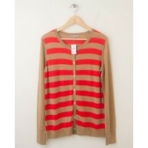 NEW Gap Striped Crew Cardigan in Cashew Crunch Women's Large