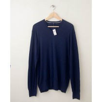 NEW Gap Summer Cotton V-Neck Sweater in Heather Navy Men's Medium