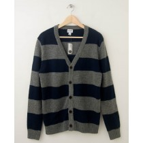 NEW Old Navy Rugby Striped Cardigan Sweater in Grey Heather