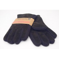 NEW Dockers Genuine Leather Fleece Lined PigSplit/Knit Combo Gloves in Brown