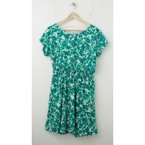NEW Gap Printed Zoe Sleeve Fit & Flare Dress in Green Multi-Dots
