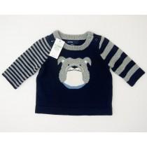 NEW babyGap Striped Intarsia Bulldog Sweater in Blue Galaxy
