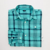 NEW GapKids Boy's Long Sleeve Overtint Button Front Shirt in Turquoise Plaid