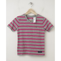 NEW GapKids Striped Pocket V-Neck Tee T-Shirt in Royal Fuchsia