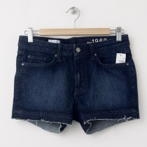 NEW Gap 1969 Raw-Edge Maddie Slim Cut-Off Denim Shorts in Langer Wash