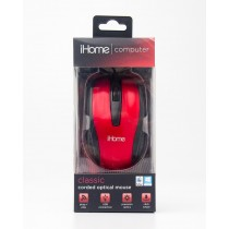 iHome Computer Classic Corded Optical Mouse Red IH-M600R