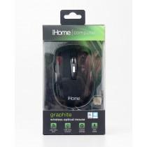 iHome Computer Graphite Wireless Optical Mouse Black Matte IH-M361B
