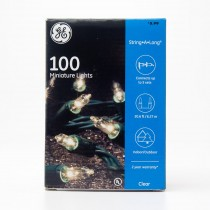 GE 100 Miniature Lights String-A-Long Clear with Green Wire