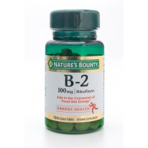 Nature's Bounty  B-2 100mg Riboflavin Vitamin Supplement 100 Coated Tablets