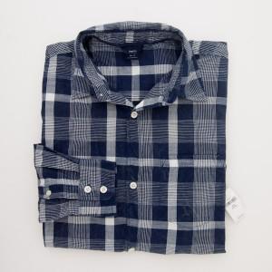 NEW GapKids Boy's Long Sleeve Slub Button Front Plaid Shirt in Blue Plaid