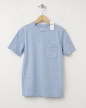 NEW GapKids Nepped Pocket Tee Crewneck T-Shirt in Light Blue Heather