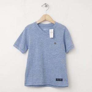 NEW GapKids Button Pocket V-Neck Tee T-Shirt in Light Blue Heather